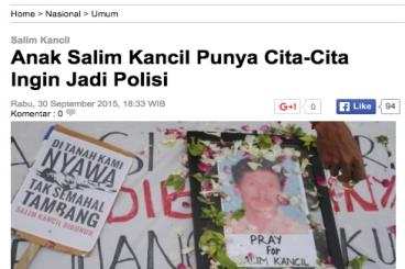 Beasiswa untuk anak Alm Salim Kancil & Tosan