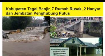 Banjir di Tegal Hancurkan Rumah-Rumah dan Jembatan