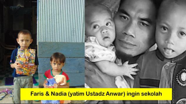 Faris dan Nadia (yatim Ustadz Anwar) ingin sekolah