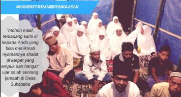 Membangun MASJID di Desa Sukababo yang masih TENDA